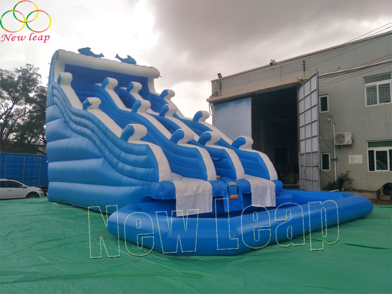 giant water slide with water pool