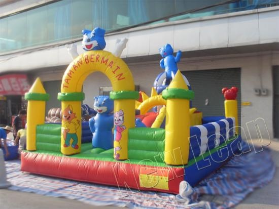 inflatable blue cat world castle